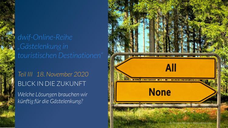 """HEUTE 11:00 Uhr: Teil III unserer kostenfreien Online-Reihe """"Gästelenkung in touristischen Destinationen"""""""