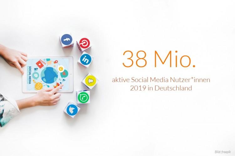 dwif Zahl der Woche: 38 Mio.aktive Social Media Nutzer*innen 2019 in Deutschland (Bild: freepik)
